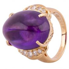 Second Hand 18ct Yellow Gold 15.00ct Amethyst 0.35ct Diamond Ring