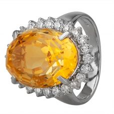 Second Hand Platinum 11.40ct Citrine and Diamond Cluster Ring