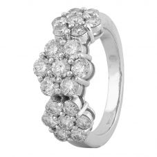 Second Hand 14ct White Gold 3.00ct Diamond Triple Flower Ring 4312576
