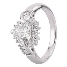 Second Hand Platinum 1.37ct Diamond Multi-Cut Cluster Ring
