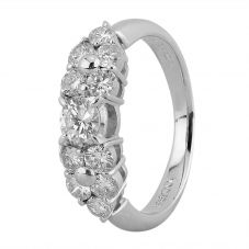 Second Hand Platinum 0.80ct Diamond Cluster Ring