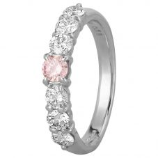 Second Hand Platinum 0.85ct Pink and White Diamond Seven Stone Ring