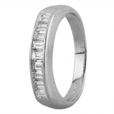 Second Hand Platinum 0.75ct Baguette Diamond Half Eternity Ring