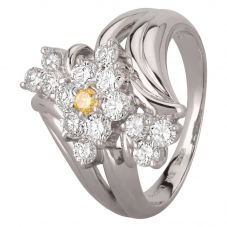 Second Hand Platinum 1.00ct Yellow and White Diamond Cluster Twist Ring