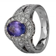 Second Hand 14ct White Gold 1.50ct Tanzanite and Diamond Halo Ring