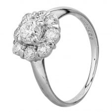 Second Hand Platinum 1.00ct Diamond Flower Cluster Ring