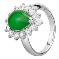 Second Hand Platinum 2.30ct Pear Shaped Jade and 1.00ct Diamond Cluster Ring