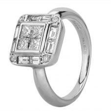 Second Hand Platinum 1.10ct Multi-Cut Diamond Quadra Cluster Ring