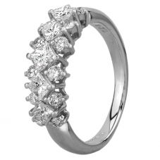 Second Hand Platinum 1.20ct Princess and Round Cut Diamond Three Row Ring