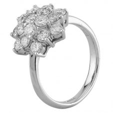 Second Hand Platinum 1.50ct Diamond Flower Cluster Ring