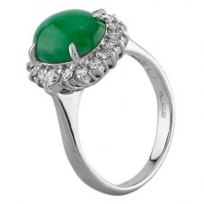 Second Hand Platinum 3.20ct Jade and 0.40ct Diamond Cluster Ring