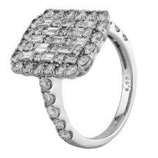 Second Hand Platinum 2.00ct Multi-Cut Diamond Square Cluster Ring