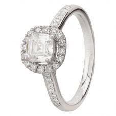 Second Hand Platinum 1.03ct Cushion Cut Diamond Halo Ring