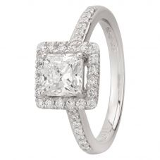 Second Hand Platinum 1.38ct Square Cut Diamond Halo Ring