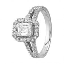 Second Hand Platinum 1.05ct Emerald Cut Diamond Halo Cluster Ring