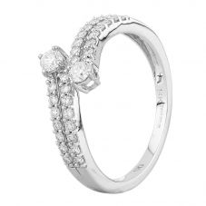 Second Hand 14ct White Gold 0.40ct Diamond Double Row Twist Ring
