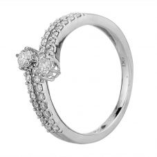 Second Hand 14ct White Gold 0.40ct Diamond Two Row Crossover Ring