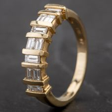 Second Hand 14ct Yellow Gold 0.65ct Baguette Diamond Fancy Half Eternity Ring 4312962