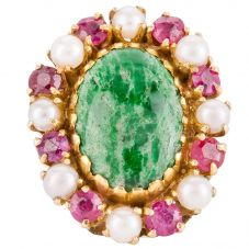 Second Hand 14ct Yellow Gold Jade Ruby and Pearl Pin Brooch