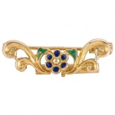 Second Hand 18ct Yellow Gold Enamel Flower Brooch