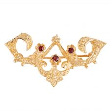 Second Hand 9ct Yellow Gold Garnet Ornate Brooch