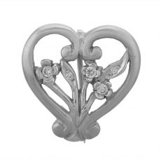 Second Hand 18ct White Gold Diamond Heart Brooch  GMC(77/10/3)
