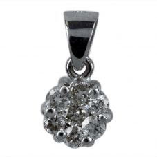 Second Hand 14ct White Gold Diamond Set Cluster Pendant
