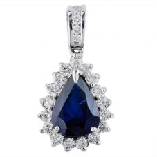 Second Hand 14ct White Gold Sapphire and Diamond Cluster Pendant 4314108