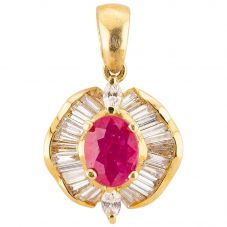 Second Hand 18ct Yellow Gold Ruby and Diamond Pendant 4314133