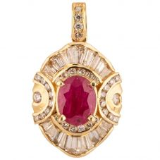 Second Hand 14ct Yellow Gold Ruby and Diamond Pendant 4314140