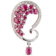 Second Hand 14ct White Gold Ruby and Diamond Pendant 4314141