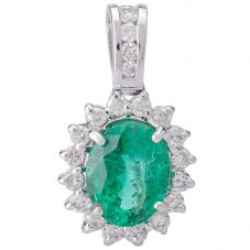 Second Hand 14ct White Gold Oval Emerald and Diamond Pendant 4314150