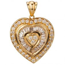 Second Hand 14ct Yellow Gold Diamond Set Heart Pendant 4314153