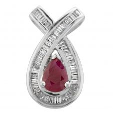 Second Hand 14ct White Gold Pear Shaped Ruby and Diamond Loose Pendant