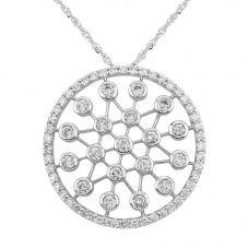Second Hand 14ct White Gold 1.00ct Diamond Pendant Necklace