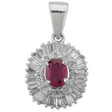 Second Hand 14ct White Gold 0.55ct Ruby and 1.20ct Diamond Loose Pendant