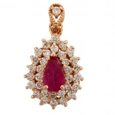 Second Hand 14ct Rose Gold 1.50ct Ruby and 1.20ct Diamond Loose Pendant