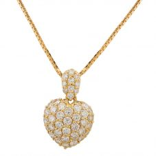 Second Hand 14ct Yellow Gold Pave Diamond Heart Shaped Pendant GMC(120/01/04)