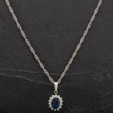 Second Hand Platinum Diamond Sapphire Pendant 4314467