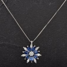 Second Hand Platinum 2.10ct Sapphire and 0.59ct Diamond Flower Cluster Pendant 4314476