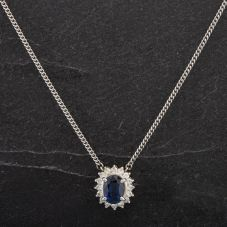 Second Hand Platinum 1.16ct Oval Shaped Sapphire Diamond Necklace 4314479