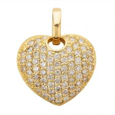 Second Hand 18ct Yellow Gold 2.00ct Diamond Pave Heart Loose Pendant