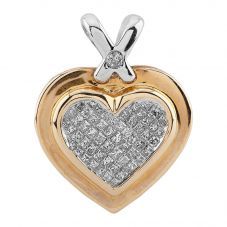 Second Hand 9ct Two Colour Gold Princess Cut Diamond Pave Heart Pendant