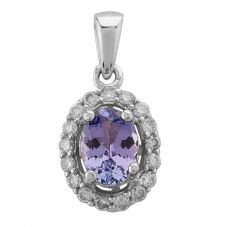 Second Hand 14ct White Gold Oval Tanzanite and 0.21ct Diamond Cluster Pendant