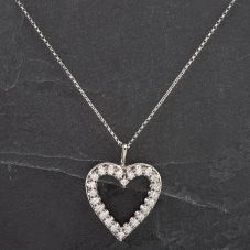 Second Hand 9ct White Gold Diamond Set Heart Pendant With Chain
