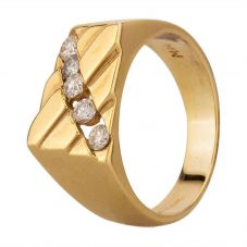 Second Hand 14ct Yellow Gold 0.50ct Diamond Set Rectangular Signet Ring