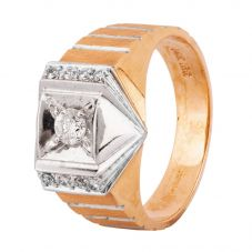 Second Hand 14ct Two Colour Gold Mens Diamond Signet Ring 4315008