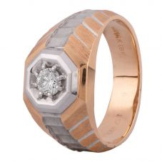 Second Hand 14ct Two Colour Gold Mens Diamond Signet Ring 4315019