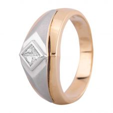 Second Hand 14ct Two Colour Gold Mens 0.30ct Diamond Signet Ring
