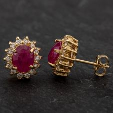 Second Hand 14ct Yellow Gold Oval Shaped Ruby & Diamond Cluster Stud Earrings
